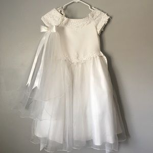 Beautiful white flower-beaded embroidered dress